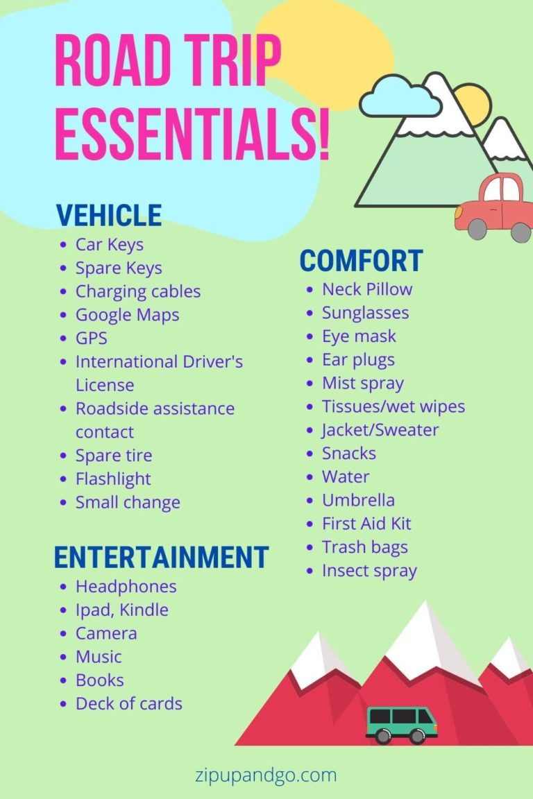 Road Trip Packing List All The Essentials You Need Zip Up And Go